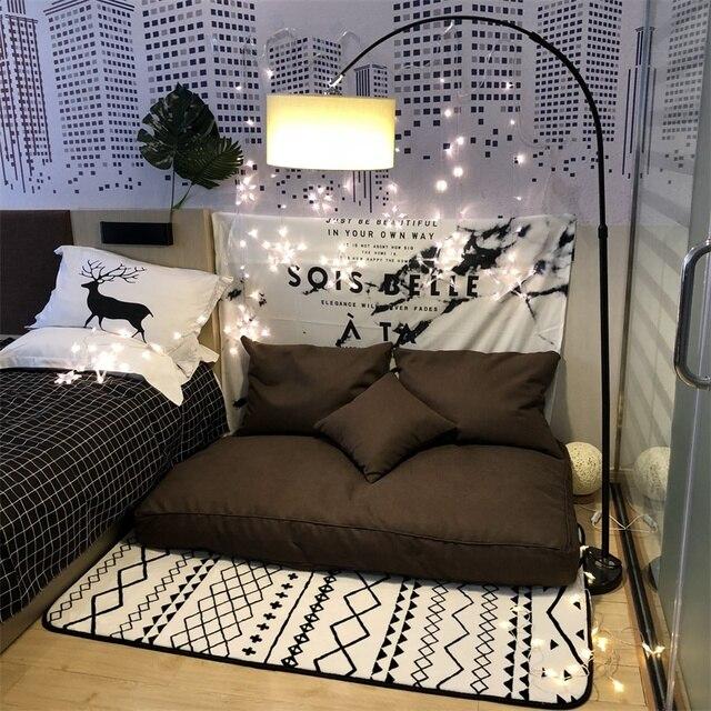 Saco de feijão sofá preguiçoso único chão do quarto piso varanda do quarto sofá almofada bonito da menina