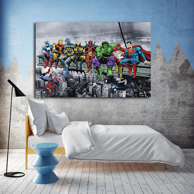 Superheroes Marvel DC United Canvas Poster 2