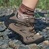 Zapatos de senderismo de ante para hombre Botas de senderismo transpirables calzado t ctico de