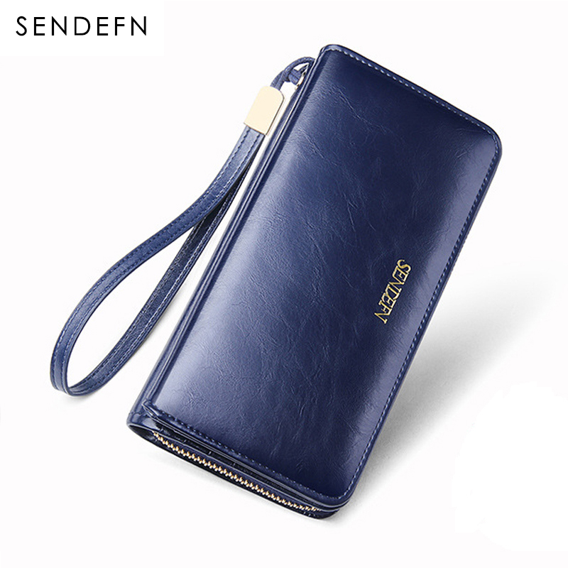 Sendefn Quality Leather Women Wallets Large Capacity Wallet Female Clutch Phone Pocket Purse Card Holder Ladies Purses top brand genuine leather wallets for men women large capacity zipper clutch purses cell phone passport card holders notecase