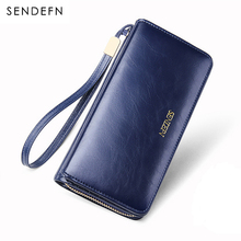 Купить с кэшбэком Sendefn Quality Leather Women Wallets Large Capacity Wallet Female Clutch Phone Pocket Purse Card Holder Ladies Purses