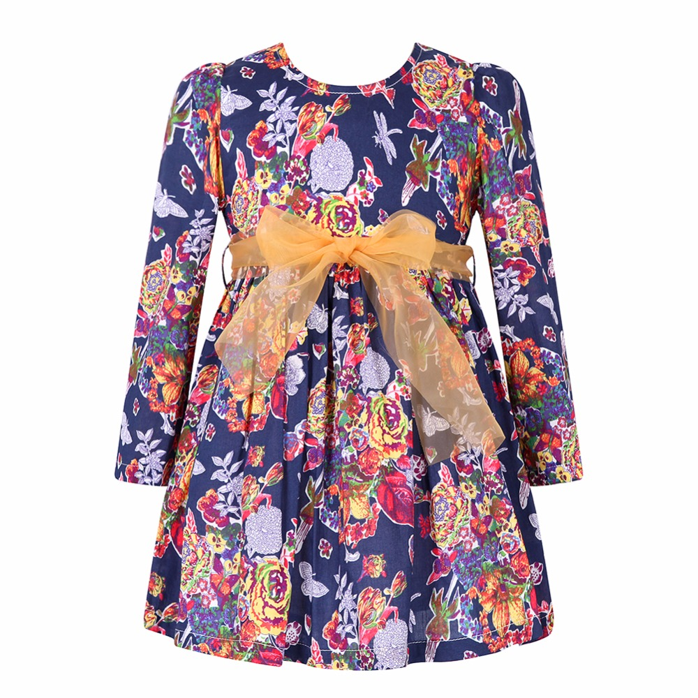 Girls Dress Children Clothing 2017 Brand Long Sleeve Kids Dresses for Girls Clothes Floral Robe Fille Princess Dress with Sashes children clothing girls dress brand princess dress floral design baby kids dresses for girls clothes teenager infant party wear