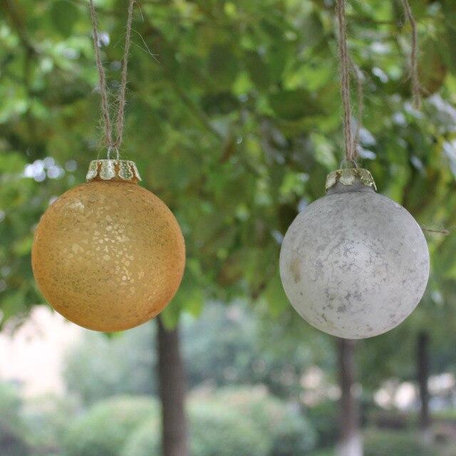 Dia8cm Vintage Mercury Christmas Glass Balls Ornaments Silver Gold Balls Xmas Wedding Baubles Centerpieces Event Home decor