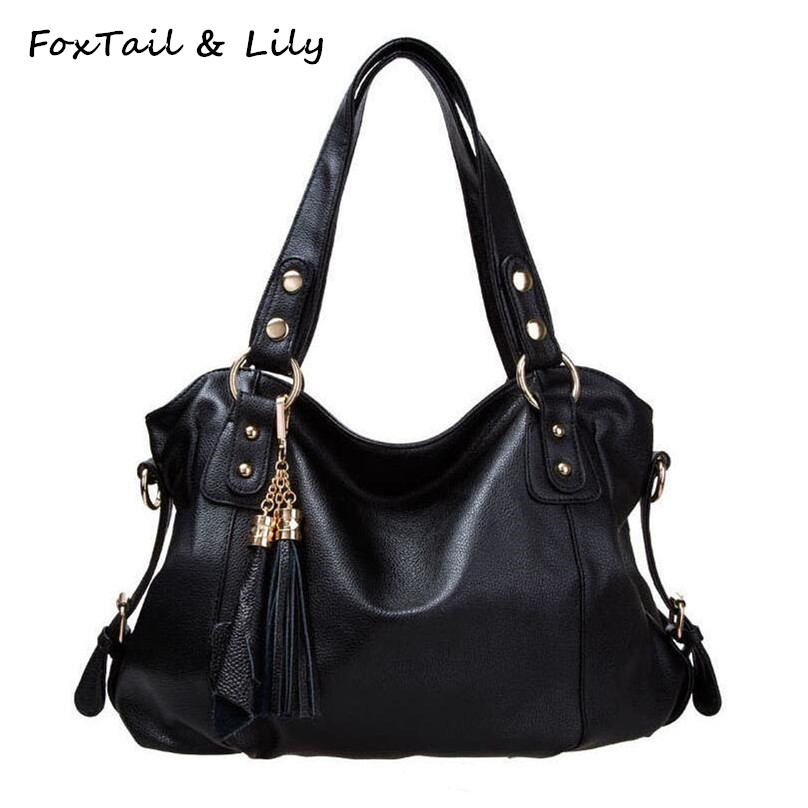 FoxTail & Lily Fashion Tassel Women Soft PU Leather Handbags Brand Designer Casual Shoulder Bag Office Ladies Messenger Bags luxury handbags women bags designer soft pu leather ladies shoulder messenger bag 2017 new fashion office woman bag casual totes