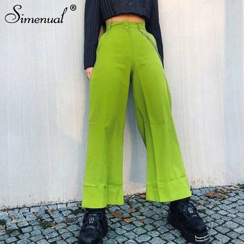 Simenual Streetwear Neon Color Casual Pants Femme High Waist Wide Leg Pants 2019 Fashion Slim Loose Pocket Trousers Summer Sale