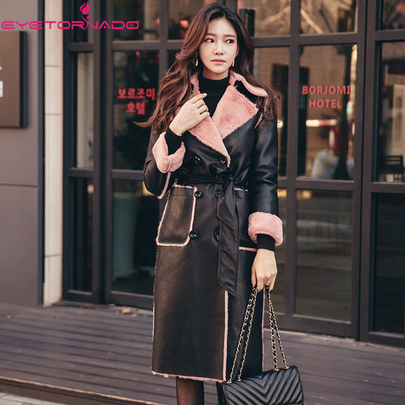 Designer Women Autumn Winter Fashion Faux   Leather   PU Fur Coat Slim Elegant Pockets Double Breasted Work Party Warm Belted Coat
