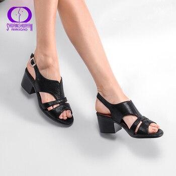 6449d48f5 AIMEIGAO/высококачественные Босоножки с открытым носком; женские босоножки  на среднем квадратном каблуке; Летняя обувь; удобная женская обувь .