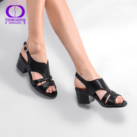 AIMEIGAO High Quality Peep Toe Sandals Women Square Med Heels Sandals Summer Shoes Soft Leather Comfortable Women Shoes