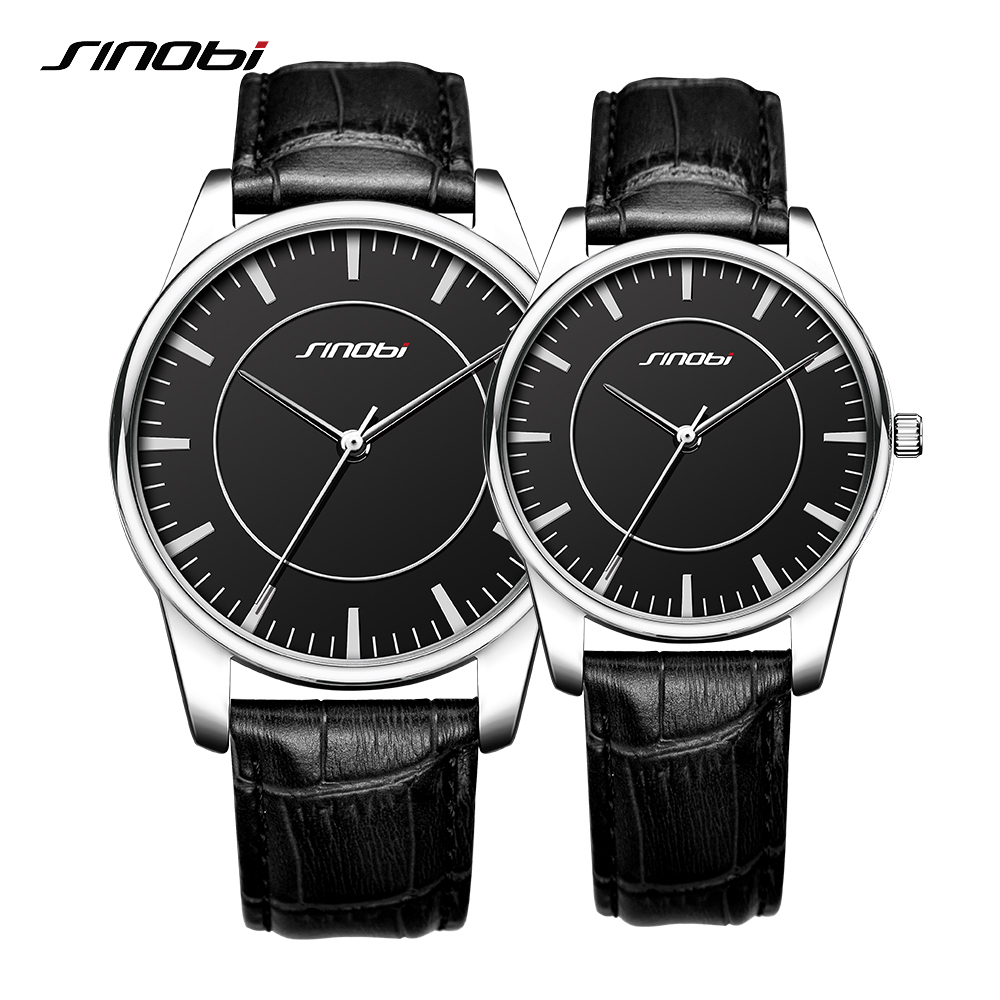Sinobi Lover's Quartz Watch Black Couple Watch Genuine Leather Strap Fashion Men And Women Watches Valentine's Day Present 2018