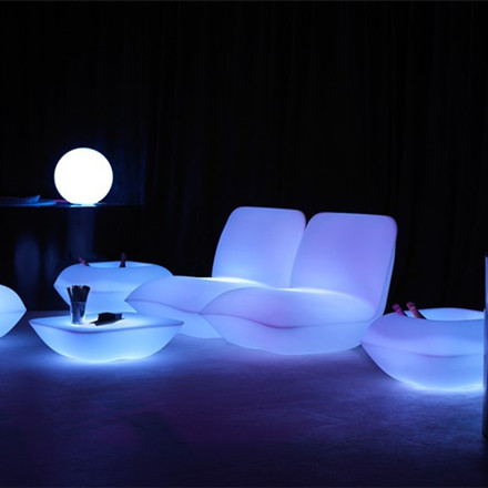 Italy Style Plastic Illuminated Vondom | Pillow Lounge Chair Stool LED Light Furniture Sofa With Adapter And Remote Control