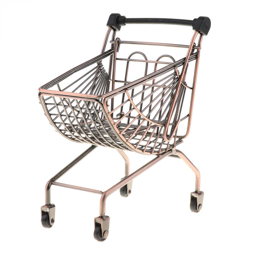 Mini Logam Supermarket Belanja Tangan Push Trolley Keranjang untuk Balita/Bayi Peran Bermain Berpura-pura Permainan Mainan Perkembangan-Perunggu
