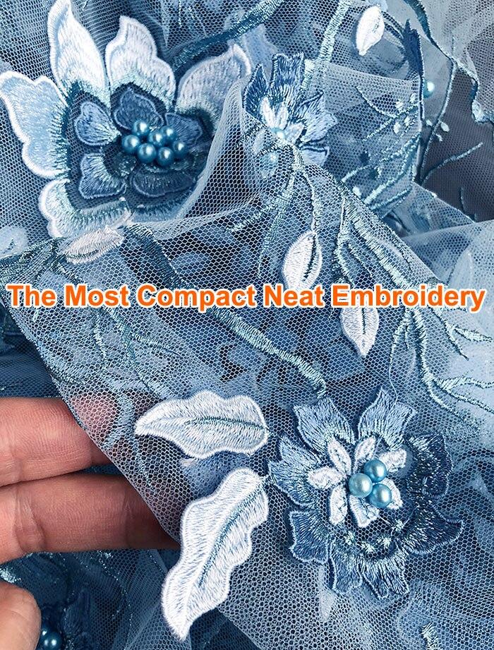 Super czyste haft niebo niebieski luksusowe tiul koronka afryki francuski koronki tkaniny 5 metrów/szt wysokiej jakości produkt, na pewno ci się spodoba to w Koronka od Dom i ogród na  Grupa 2