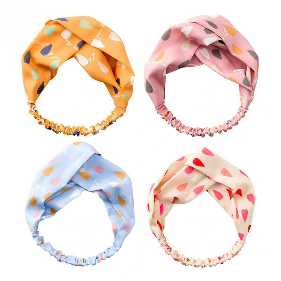 Ladies twist knot pattern headband elastic head wrap turban hair band colours 05