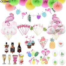Hawaiian Summer Tropical Party Flamingo Garland Latex Balloon Cake Topper Birthday Wedding Decoration Supplies