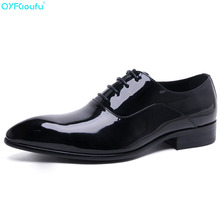 Patent Leather Dress Shoes For Men Pointed Toe Adult Elegant Wedding Genuine Leather Casual Oxford