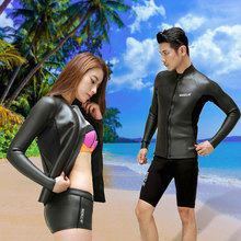 New Hisea 3.5MM Men Women Wetsuti Keep Warm Long Sleeve Couple Jacket Tops Prevent Jellyfish Scuba Diving Surfing Swimwear Black