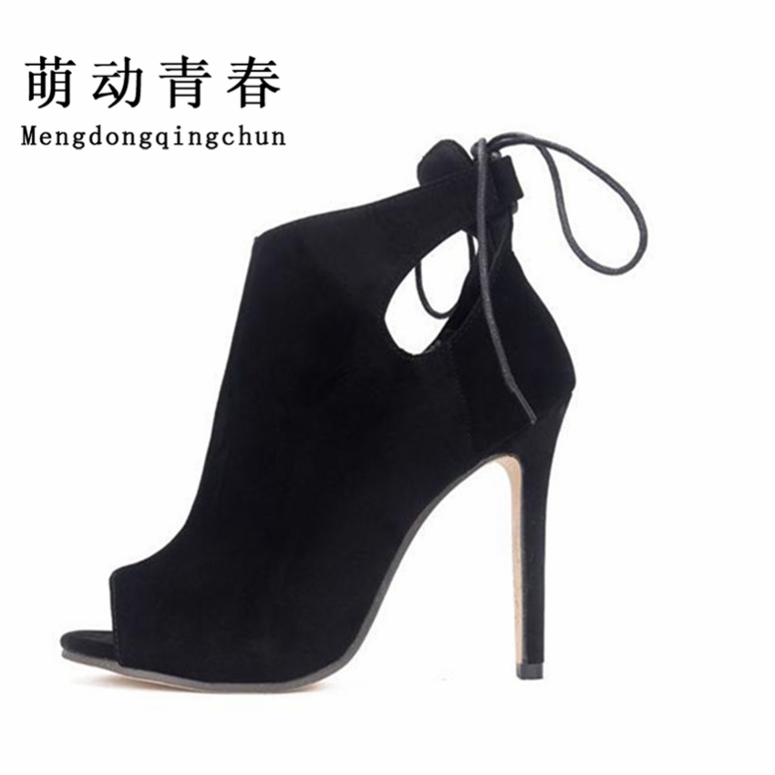 цены  Women Boots 2016 Autumn High Heels Ankle Boots Ladies Peep Toe Pumps Cut-Outs Women Shoes Woman Fashion Lace Up Botas Mujer