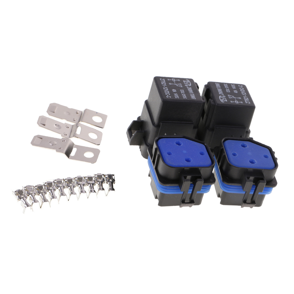 2 Sets Universal 12V 40A 5-Pin Relay and Relay Holder Socket Integrated with Terminals 660v ui 10a ith 8 terminals rotary cam universal changeover combination switch