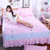 European white sun flower embroidery lace bedspread Satin high quality pure cotton bed skirt wedding decoration bed sheets sale