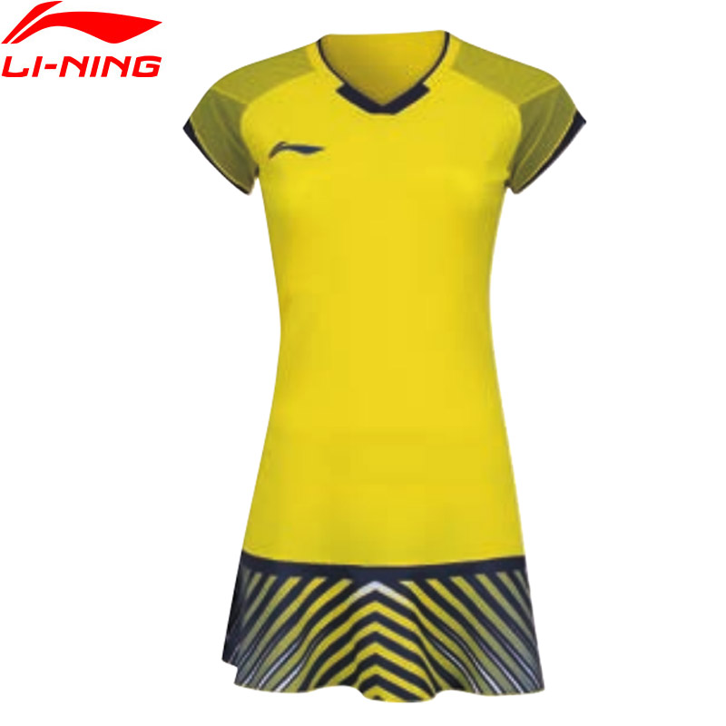 Li-Ning Women Badminton Competition Dress National Team Sponsor Comfort Short Sleeve LiNing AT DRY Sport Dress ASKN032 WQS2241 2018 summer new badminton dress women speed dry badminton suit sports suit women s dress
