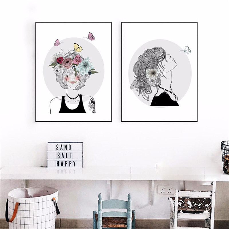 Frameless Nordic Style Simple Girl Flower Oil Painting Kits Wall Art Picture Home Decor Acrylic Paint On Canvas Artwork Hot Sale