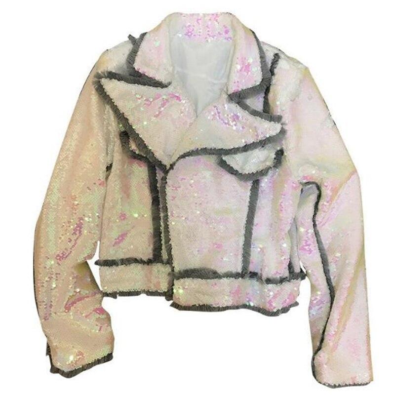 Colorful sequins short Coat Full Sequin tops Winter Coat Women 2019 Fashion Lapel tassel stitching Autumn