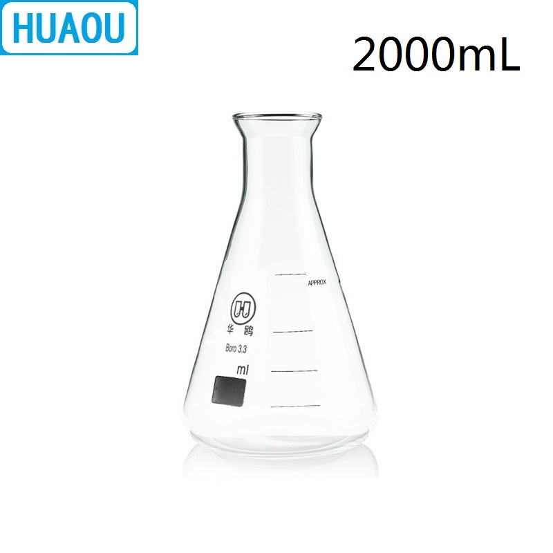 HUAOU 2000mL Erlenmeyer Flask 2L Open Horn Bell Mouth Narrow Neck Borosilicate 3.3 Glass Conical Triangle With Graduaition
