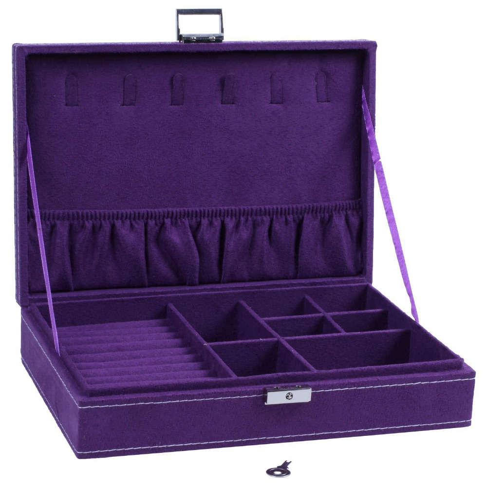 Lockable Wooden Capacity Large Jewelry Carrying Cases Purple Color Velvet Material Jewelry Storage Case Earring Ring Display Box-in Jewelry Packaging & Display from Jewelry & Accessories