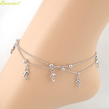 Diomedes Newest Silver Dolphin Fish Women Chain Anklet Bracelet Sandal Beach Foot Jewelry 1PC