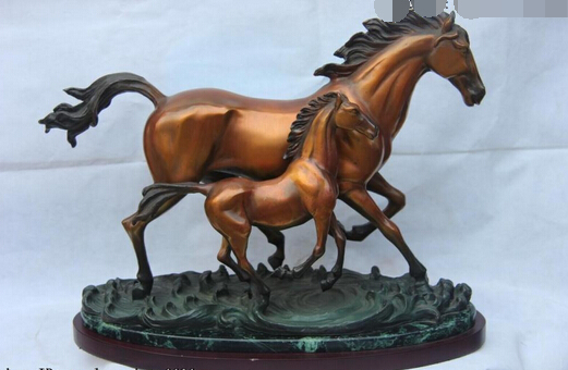 xd 003430 15 Classic Bronze Art Sculpture Lucky Animal Mother and Child Small Horse Statue
