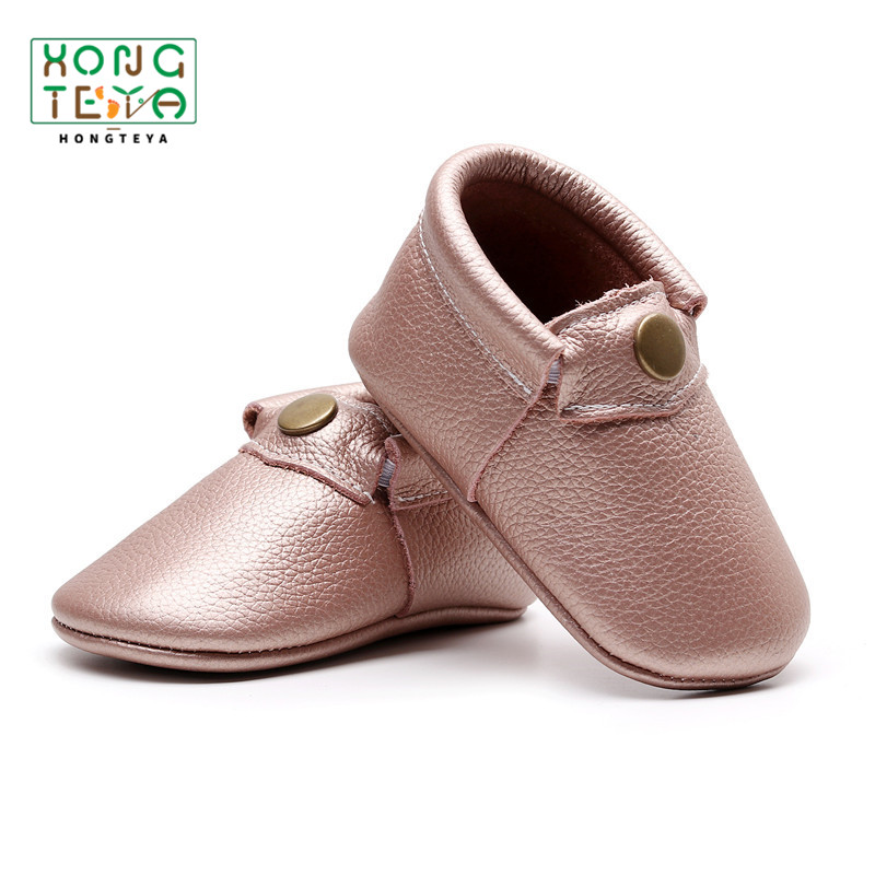 Light Pink Genuine Leather Baby Shoes Simple Generous Girls Shoes Newborn Infant Toddler Crib First Walkers Soft Soled Shoes