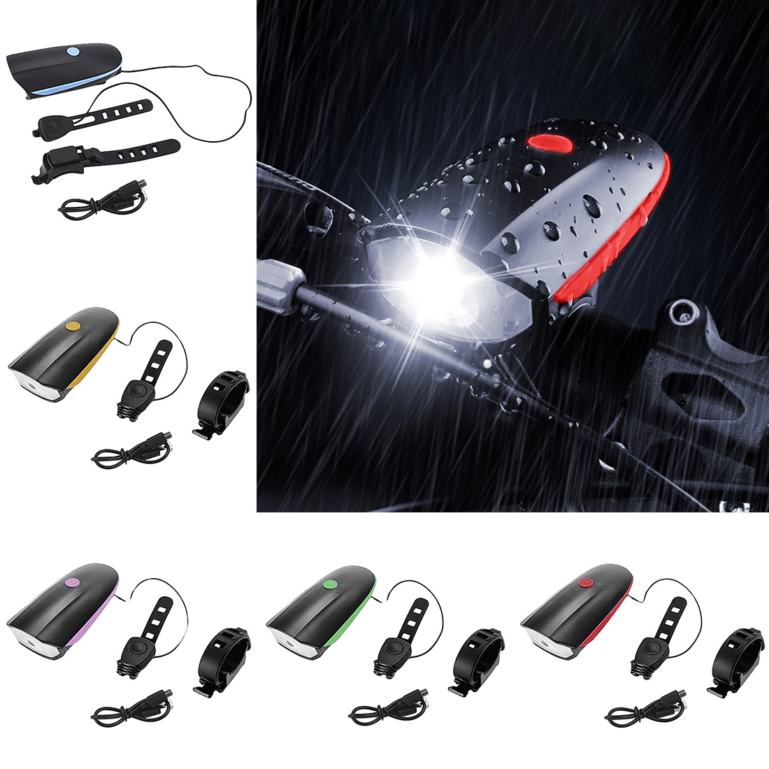 Waterproof Bike Light Bicycle Head LED Flashlight With 120 Db Bell Multifunction Cycle Lamp MTB Cycling Light Bike Accessories