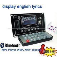 Bluetooth Receptor de Audio DC 12 v Reproductor de MP3 WAV WMA Radio FM tablero del decodificador de audio
