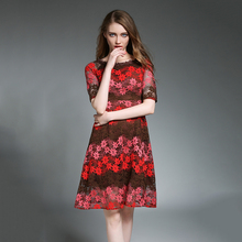 2017 New Summer Lace A-line Dress for Women Blue Floral Dresses Loose Slash Neck Vestido Hollow Out Cute Style Female Robe N609