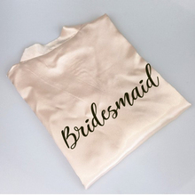 New bride bridesmaid robe with white black letters mother sister of the bride etc