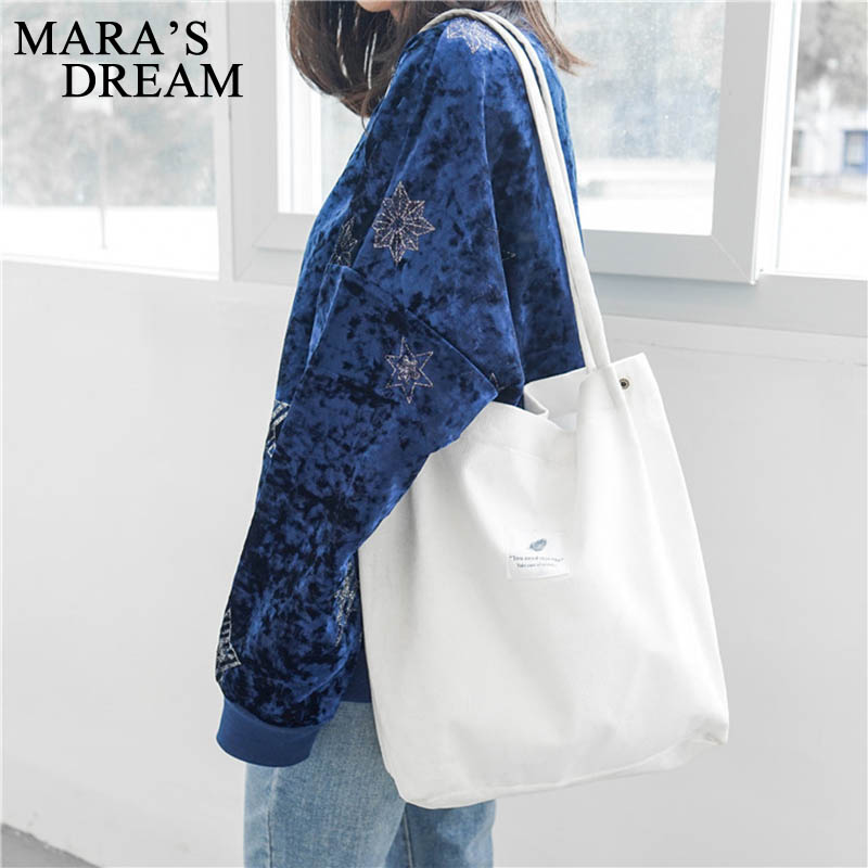 Mara's Dream High Capacity Women Corduroy Tote Ladies Casual Solid Color Shoulder Bag Foldable Reusable Women Shopping Beach Bag 3