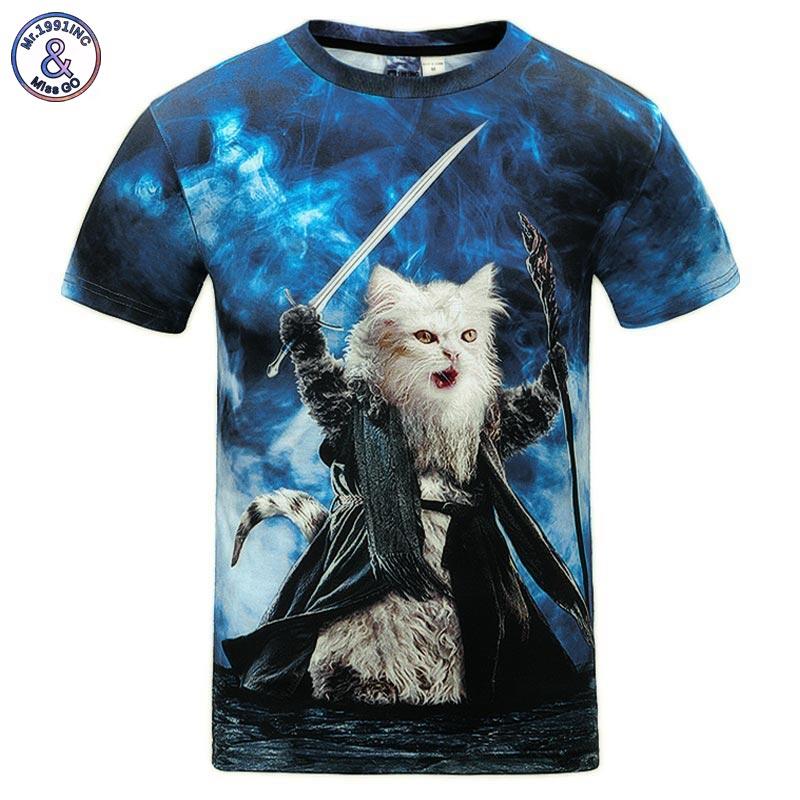 Mr.1991INC Cats   T  -  shirt   Men/Women 3d Print Meow Star Cat Hip Hop Cartoon TShirts Summer Tops Tees Fashion 3d   shirts