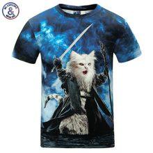 Unisex tričko s krátkým rukávem a 3d obrázkem kočky