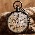 Мода Стимпанк Карманные Часы Часы Открытым Лицом Ожерелье Автоматические Механические Мужчины Кулон Классический Рождественский Подарок Автоподзаводом Прохладный