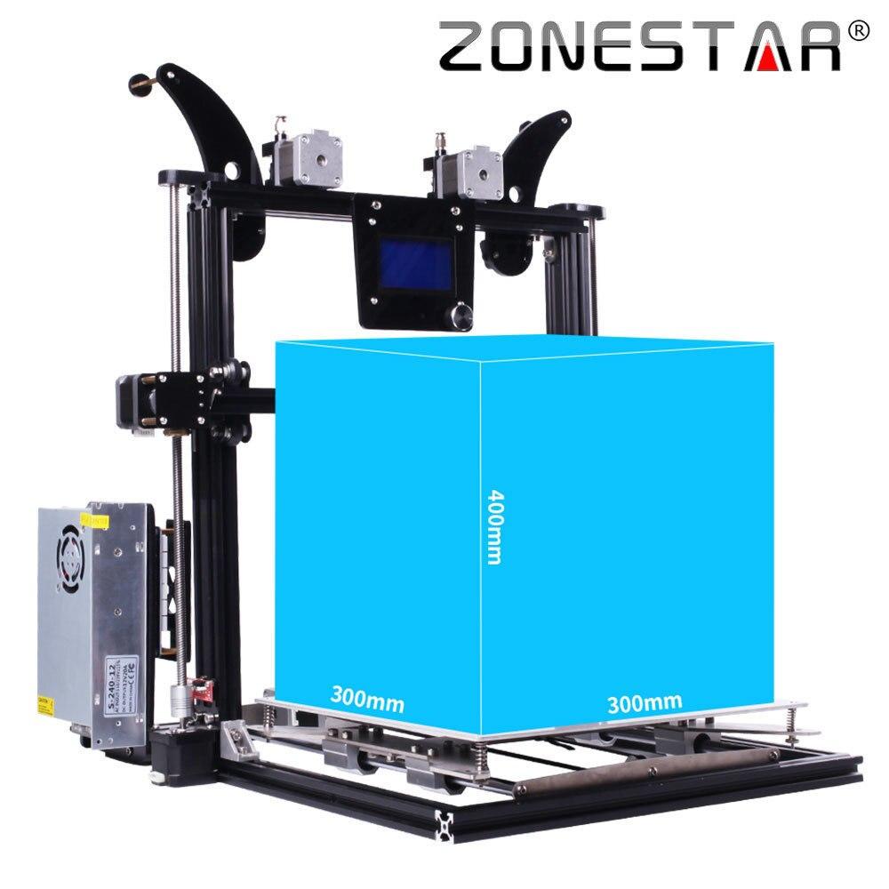 ZONESTAR 2018 Atualização Mais Recente Tamanho Grande Uma/Duas/Três Extrusora 3D Cama Impressora De Auto Nível de Metal Cheia de Alumínio quadro Kit DIY