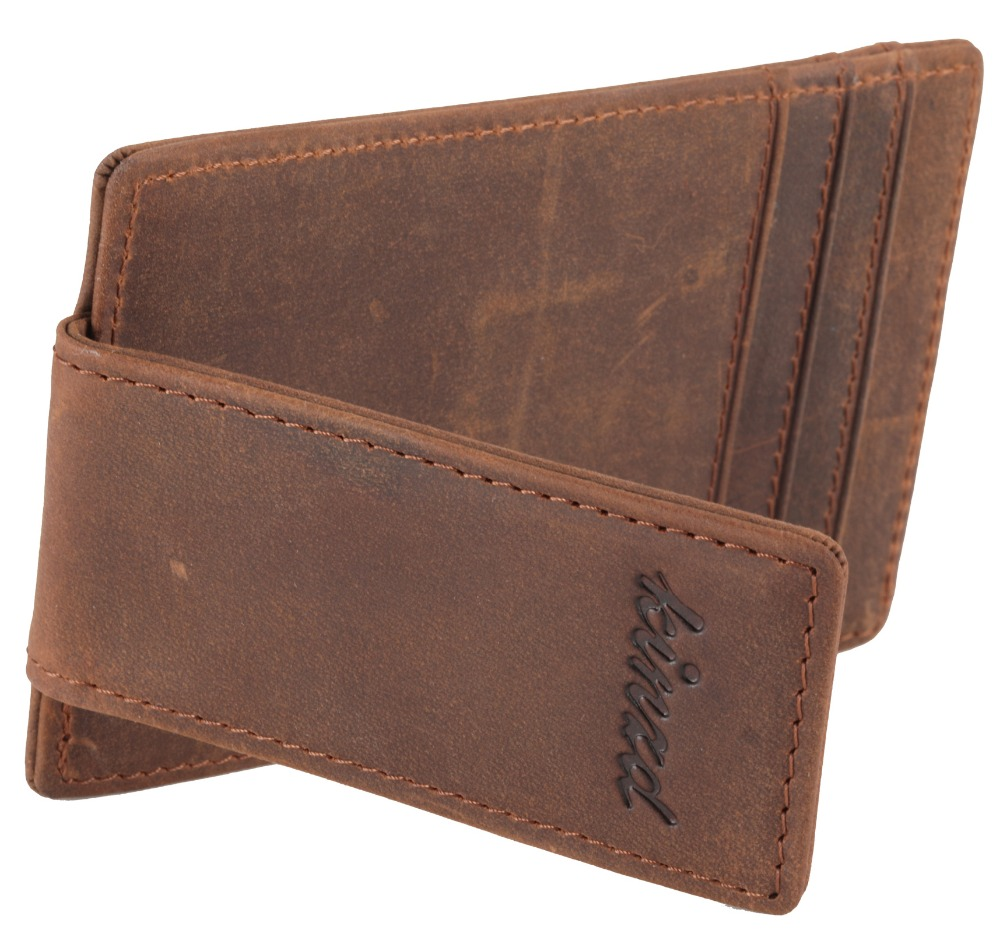 Magnetic Money Clip RFID Front Pocket Wallet Mens Leather Slim Brown with ID