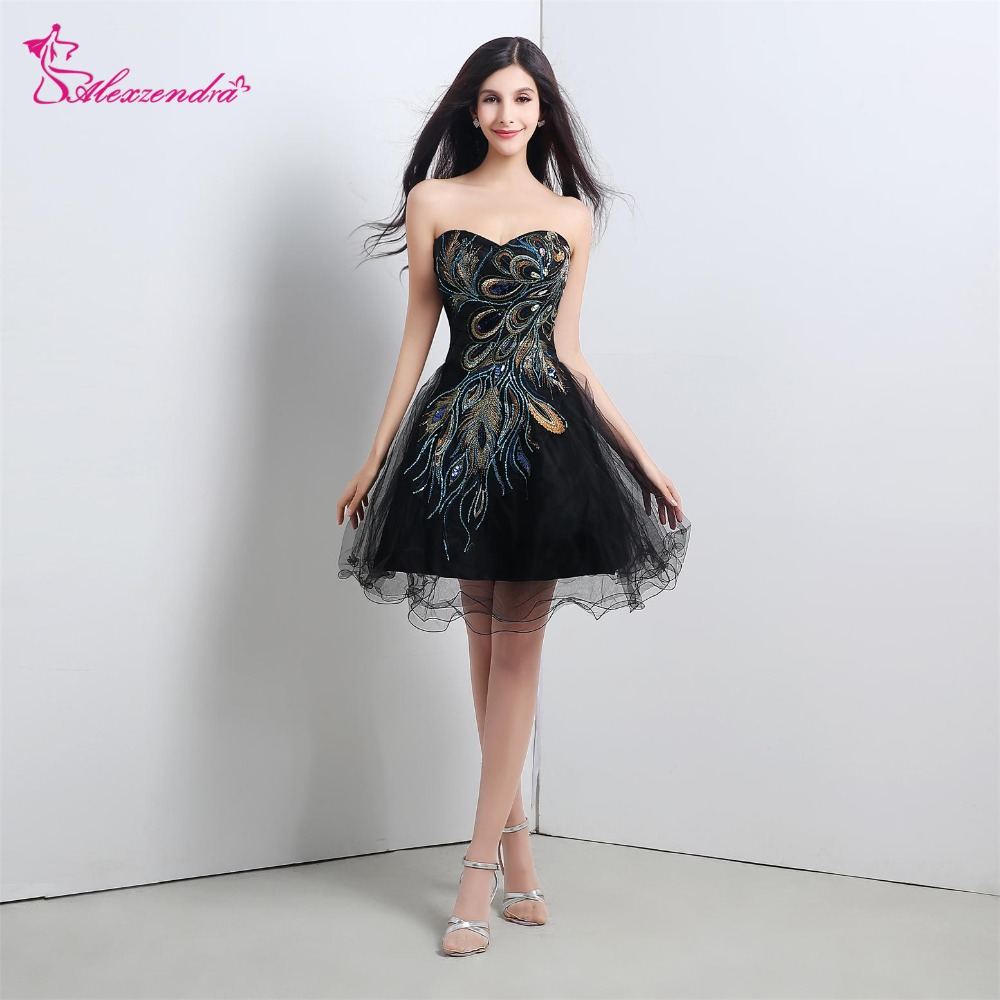 Alexzendra Stock robe courte noir Organza pas cher robes de bal avec motif chérie genou longueur robe robes de soirée