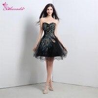Alexzendra Stock Dress Short Black Organza Cheap Prom Dresses with Pattern Sweetheart Knee Length Dress Party Dresses