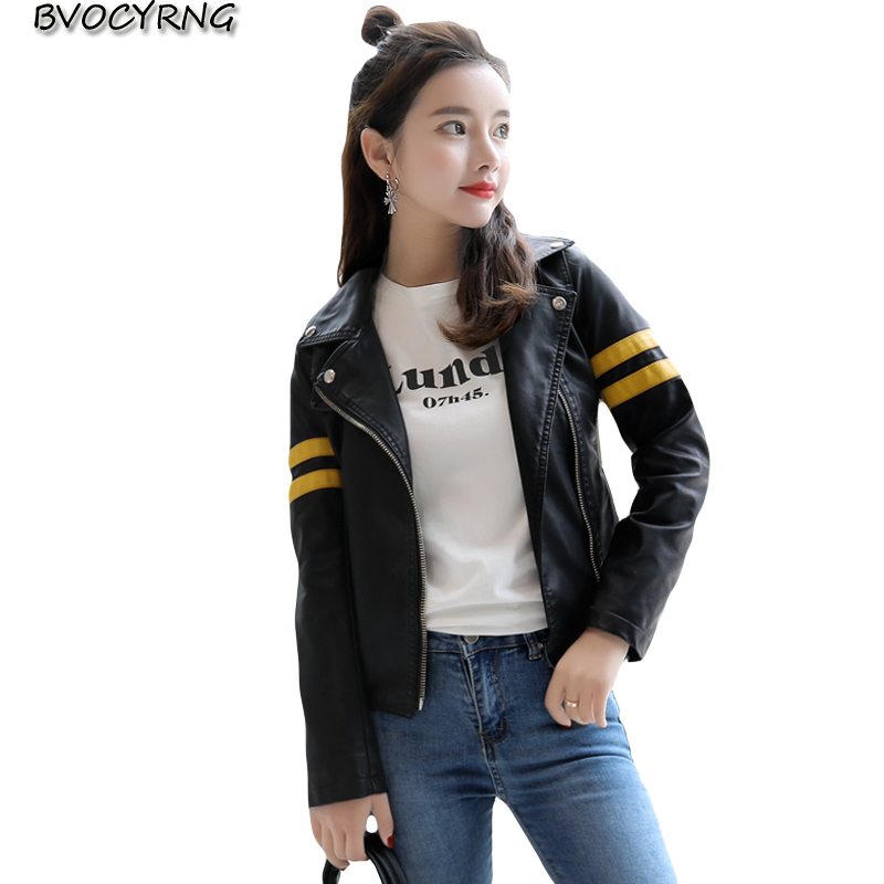 Women Fashion 2018 New Design Spring Autumn PU   Leather   Jacket Faux   Leather   Coat Female Slim Black Splicing Zipper Jackets A0636