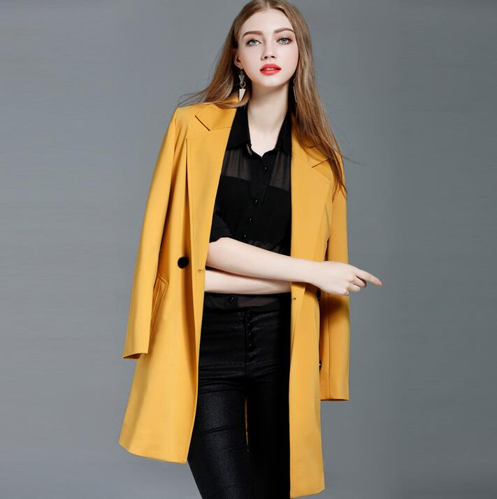 Medium-long coat suit female 2017 spring and autumn double breasted trench coats womens outerwear loose fashion yellow plus size