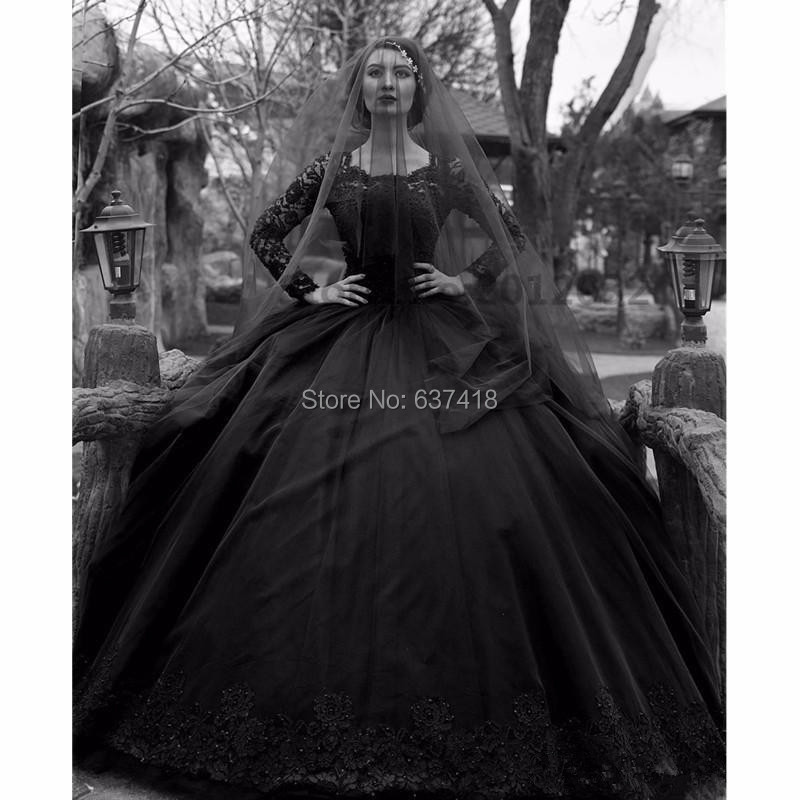 Ball Gown Black Gothic Wedding Dresses Black Lace Wedding Gown with Long Sleeves Lace Appliques and Beads