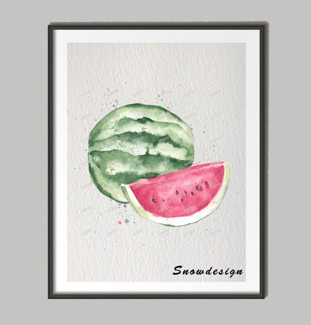 Watermelon Original Watercolor Wall Art Canvas Painting Pop Fruit Poster  Prints Pictures Kitchen Home Decor Wall