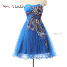 Corta Azul Pavo Real Vestidos de Coctel Mini vestido de Bola longitud de la rodilla Gasa Vestidos de Fiesta vestido de coctail
