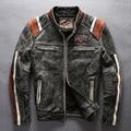 Мужской подлинной корова кожа мотоциклист куртка старинные стенд воротник вышивка кожаная мотоциклист кожа кожаная куртка