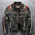 Masculino genuíno couro de vaca jaqueta de motociclista gola vintage bordado de couro motociclista jaqueta de couro do couro